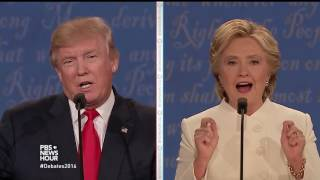 Download Clinton and Trump talk about Clinton Foundation donation questions Video