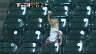Download Fan gives souvenir foul ball to young girl Video
