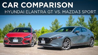 Download 2019 Hyundai Elantra GT N Line vs. 2019 Mazda3 Sport GT   Car Comparison   Driving.ca Video