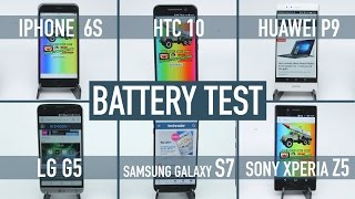 Download Smartphone battery test: iPhone 6S v Galaxy S7 v HTC 10 v LG G5 v Huawei P9 v Xperia Z5 Video