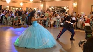 Download Military Dad and Daughter Do Amazing Dance During Quinceanera Video