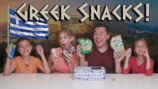 Download GREEK SNACK TASTE TEST!!! Universal Yums - Greece! Video