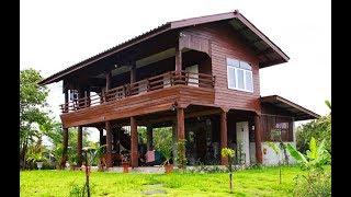 Download บ้านไม้สักยกพื้นสูงกึ่งปูนเปลือย บรรยากาศธรรมชาติแบบชนบท ชั้นบนมีระเบียงนั่งเล่นชมวิวสวน Video