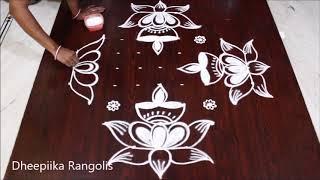 Download Karthika pournami special lotus deepam rangoli design with 9x3x3 dots * easy rangoli Video
