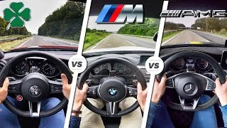 Download Alfa Giulia QV vs M3 COMPETITION vs C63 S AMG POV AUTOBAHN & SOUND by AutoTopNL Video