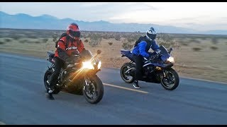 Download Suzuki GSXR 600 vs Yamaha R6 - Onboard, exhaust sounds, top speed & more... Video
