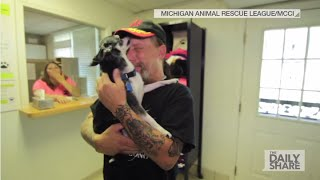 Download Man cries tears of joy after being reunited with lost dog Video