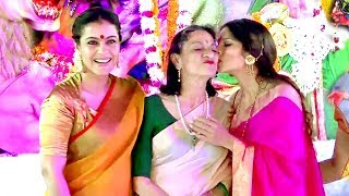 Download Kajol With Family At Durga Puja 2017 Full Video HD Video