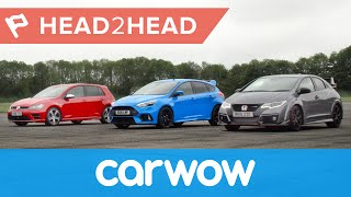 Download Ford Focus RS vs Honda Civic Type R vs VW Golf R drag race & review | Head2Head Video