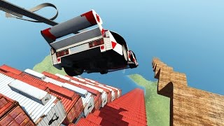 Download CRASH TESTING CARS OFF STAIRCASE OF DEATH! Driving Off a Cliff! (BeamNG Drive Mods) Video