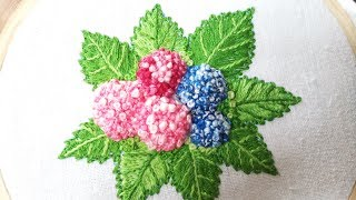 Download Hand embroidery of hydrangea flowers and leaves Video