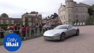 Download Newlyweds Eugenie and Jack leave Windsor in an Aston Martin Video