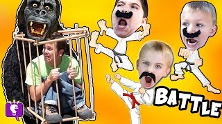 Download Funny MONKEY Gets DAD! Big Banana Plops with HobbyKarate Kids on a Toy Adventure Video