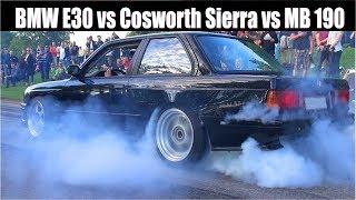 Download Turbocharged EURO Burnout Battle!! BMW E30 vs Cosworth Sierra vs Mercedes 190 HUGE TURBOS! Video