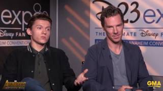 Download Benedict Cumberbatch Stops Tom Holland From Revealing Any Big Avengers Infinity War Secrets Video