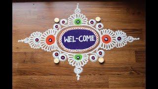 Download Simple free hand rangoli designs with colours/ Diwali rangoli designs Video