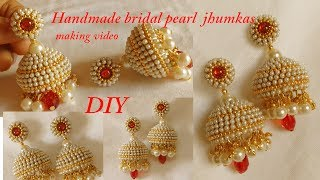 Download DIY || how to make designer silk thread bridal jhumka earrings at home || handmade tutorial Video