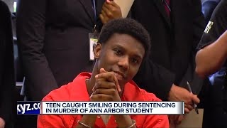 Download Teen caught smiling during sentencing in murder of Ann Arbor student Video
