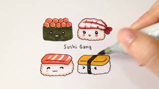 Download วาดซูชิน่ารักๆกันจ้า♪ How to draw cute sushi. Video