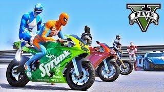 Download Motos Esportivas com Homem Aranha e Heróis! Desafio de Saltos na Mega Rampa! GTA V Video