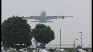 Download What a Thrilling view ! Heavy Airplanes A380 and Boeing 747 taking off Video