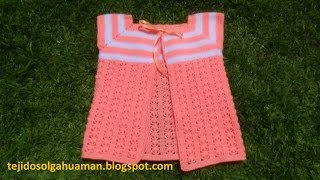 Download chaleco tejido a crochet para niña de 1a 3 años paso a paso con punto flores en fila Video