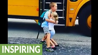 Download Little girl greets big brother with hugs every day after school Video