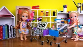 Download Back to School shopping ! Elsa and Anna toddlers buy supplies from store - Barbie is seller Video