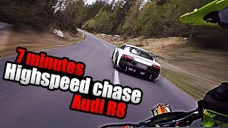 Download Supermoto chasing famous Audi R8 at Wörthersee car meet Video