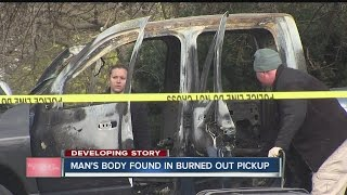 Download Man's body found in burned out pickup truck Video