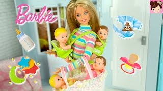 Download Barbie BabySitting 4 Babies - Change Dirty Diaper, Feed - Barbie Baby Dolls - Toys for Kids Video