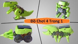 Download Đồ chơi năng lượng mặt trời 4 trong 1 - khủng long, robot, côn trùng, xe khoan hầm Video