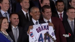 Download President Obama welcomes World Series champion Chicago Cubs for his last event as president Video