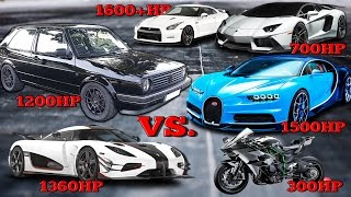 Download VW Golf 1200HP vs Bugatti Chiron, Koenigsegg One, Kawasaki H2R Tacho Comparison 2017 Video