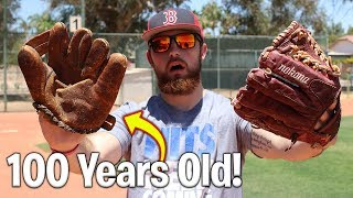 Download 100 Year Old Baseball Glove vs. Modern Day Baseball Glove! IRL Baseball Challenge Video