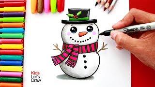 Download Aprende a Dibujar un MUÑECO DE NIEVE Kawaii   How to Draw a Cute Christmas Snowman Video
