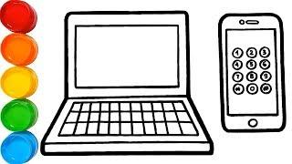 Download Laptop & Iphone Drawing and Coloring Pages for Kids | vẽ và tô màu máy tính điện thoại Video
