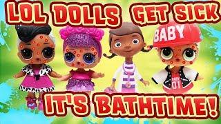 Download LOL Dolls Sugar Queen, Dollface & MC Swag Get Sick! Doc McStuffins helps w Slime & a Bubble Bath! Video