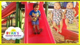 Download Ryan Twin Sisters First Time Outside! Playground for Kids Family Fun Playing at the Park Video