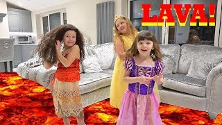 Download FLOOR IS LAVA GAME With Disney Princess Moana Rapunzel and Belle!! Video