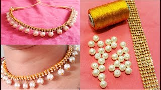 Download DIY || How to Make 2- Line Stone Choker Style Necklace at Home || Silk Thread Necklace Tutorial !!! Video