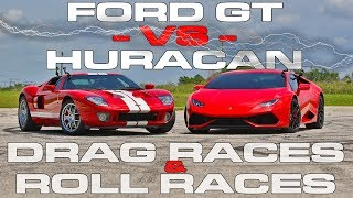 Download 720HP Ford GT takes a Lamborghini Huracan LP610-4 Drag Racing and Roll Racing Video
