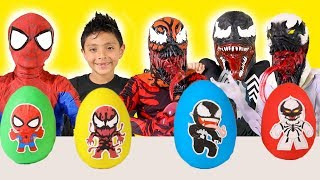 Download Spiderman Kid Venom Play Doh Surprise Eggs Superhero Marvel Kids toys video playtime costume runway Video