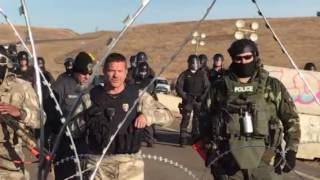 Download Tense standoff at Standing Rock after Semi Truck comes to clear bridge Video