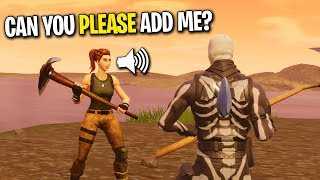 Download SURPRISING THE NICEST NOOB WITH A FRIEND REQUEST ON FORTNITE! (He Hasn't WON YET!) Video