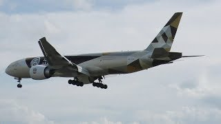 Download Etihad Cargo Boeing 777F (Year of Zayed Livery) Landing at Prestwick Airport Video
