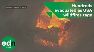 Download Hundreds evacuated as wildfires rage in USA Video