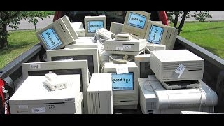 Download Vintage Mac computers at the recycling center Video