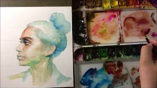 Download Watercolor Portrait Tutorial(With a description of the direction of the brush) 인물수채화, 인물화 Video