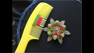 Download hand embroidery:sewing hacks amazing simple trick for making flower with hair comb Video